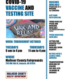 Vaccine and testing every Tuesday & Thursday in October