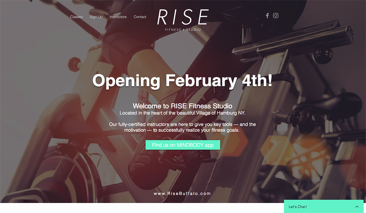 Rise Fitness Studio website