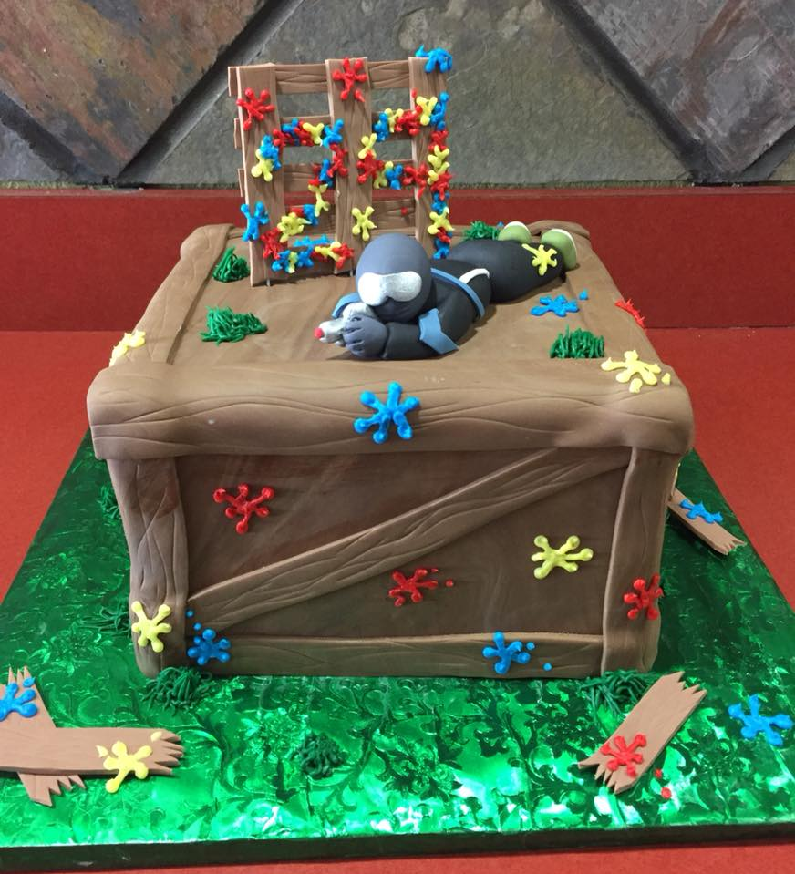 Fondant Paintball Themed Cake
