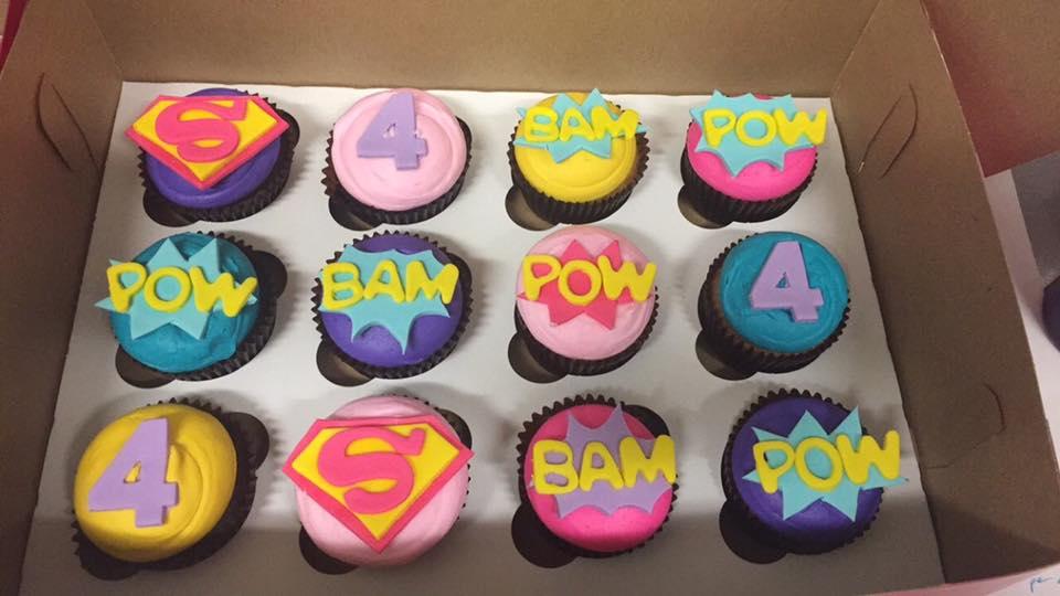 Girly Superhero Themed Cupcakes