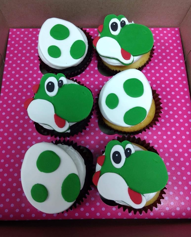 Custom Yoshi Themed Cupcakes