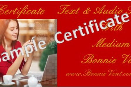 Gift Certificate E-Mail Text & Audio Reading