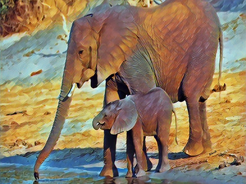 Mom and Baby African Elephant by Bonnie Vent