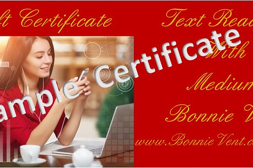 Gift Certificate E-Mail Text Reading