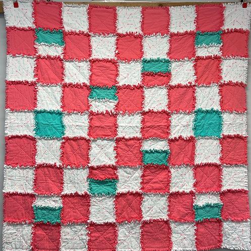 W209 - Coral Arrows Rag Quilt