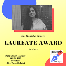 Dr. Manishaa - the proud winner of Literoma Laureate Award - 2020