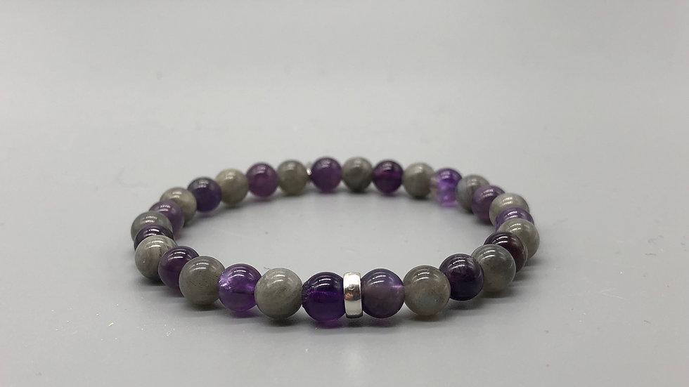 Amethyst & Labradorite Crystal Energy Bracelet