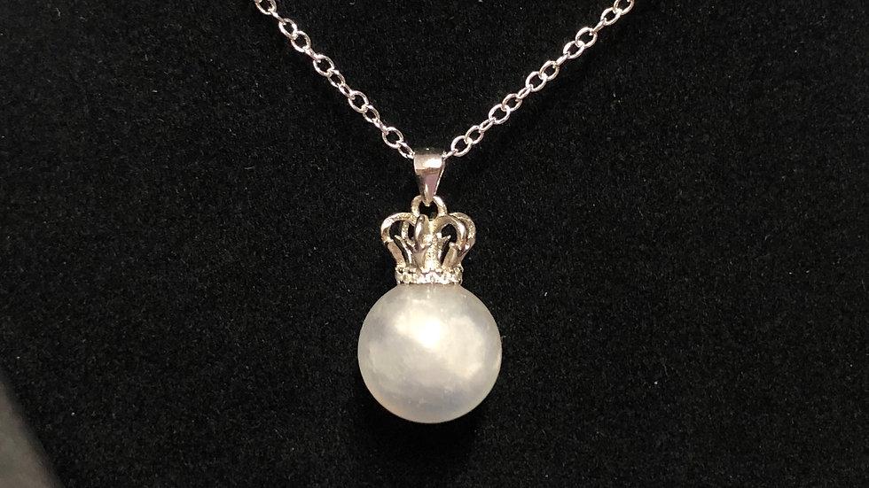 Sterling Silver Moonstone Sphere Pendant & Chain