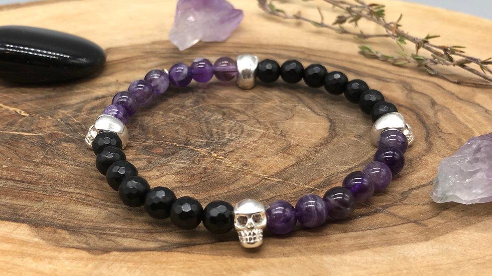 Mens Skull Black Agate & Amethyst Crystal Energy Bracelet
