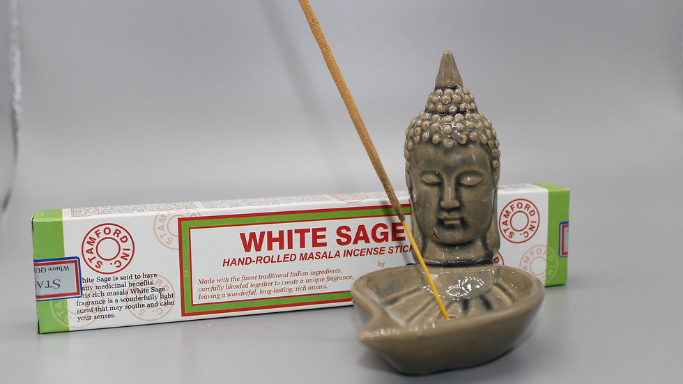 White Sage Incense & Buddha Incense Holder (Sage Green)