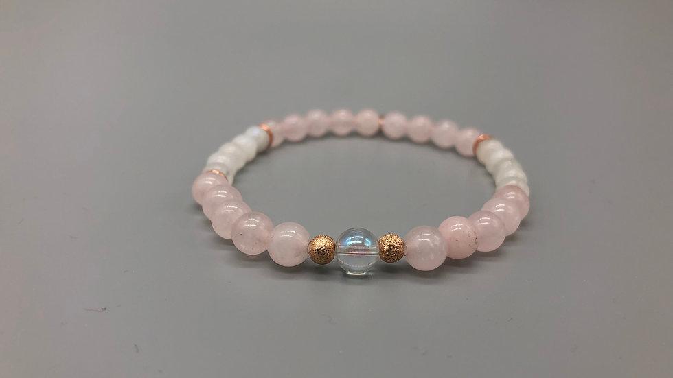 Rose Quartz & Moonstone Crystal Energy Bracelet