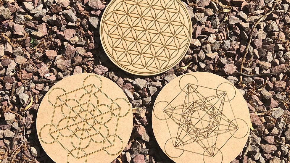 Laser Engraved Wooden Crystal Grid Template