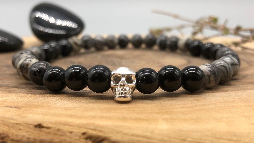 Mens Skull Grounding & Protection Crystal Energy Bracelet