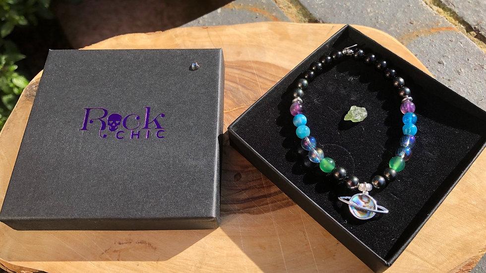 Planet Crystal Energy Bracelet & Moldavite Specimen