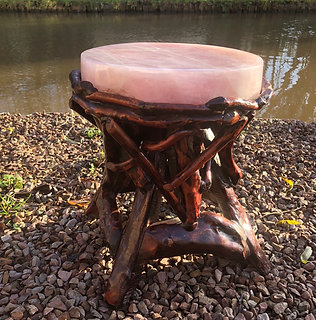 Hand Carved Rose Quartz Wooden Stool
