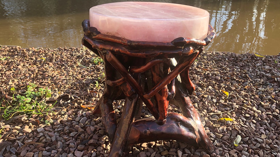 Hand Carved Rose Quartz Wooden Stool