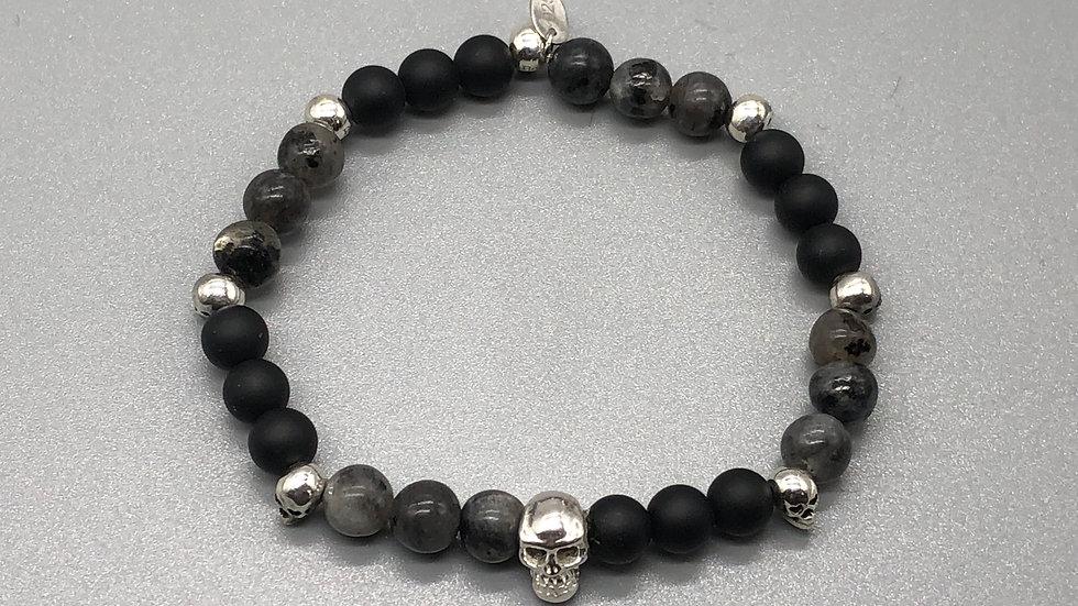 Grounding Larvikite and Black Agate Crystal Energy Bracelet