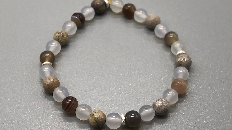 Fossil Coral, Botswana & White Agate Crystal Energy Bracelet