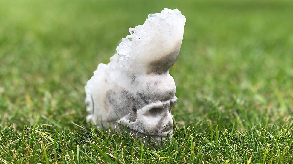Clear Quartz Mohican Skull