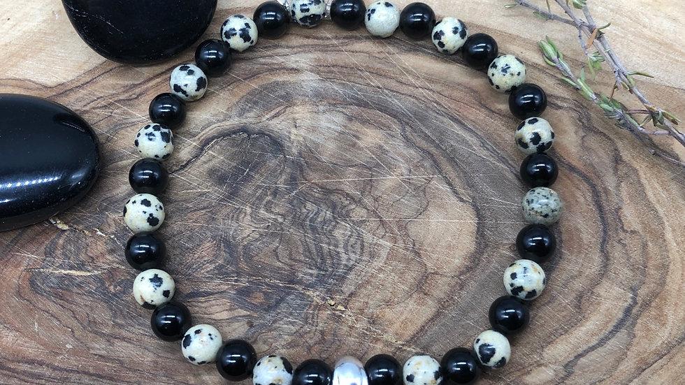 Mens Skull Dalmatian Jasper & Obsidian Crystal Energy Bracelet