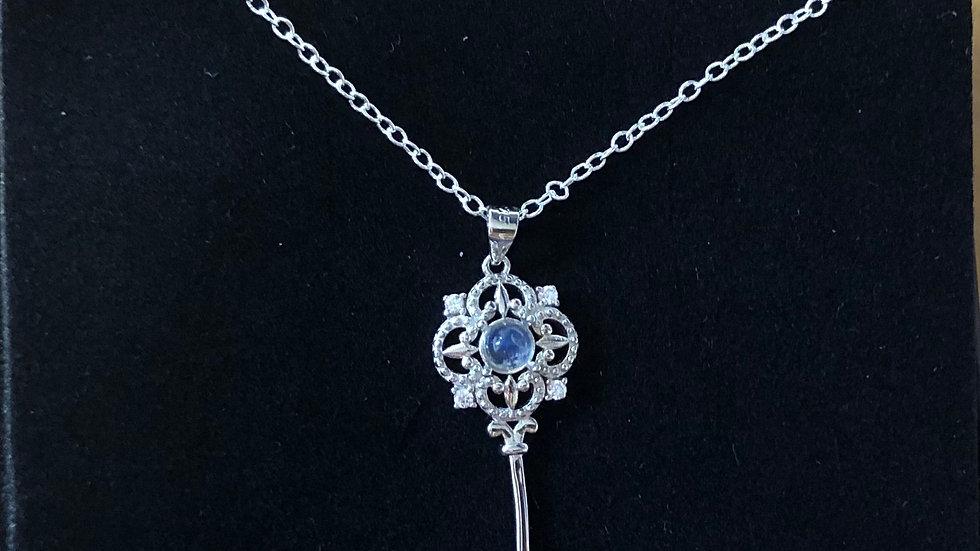 Sterling Silver Moonstone Key Pendant & Chain