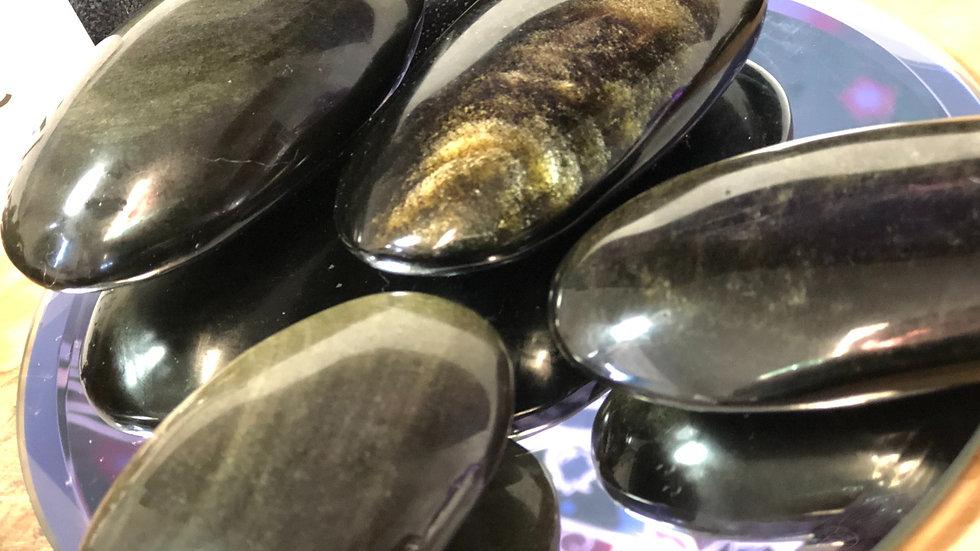 Gold Sheen Obsidian Palm Stone