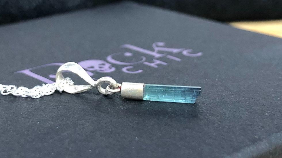 Sterling Silver Blue Tourmaline (Indicolite) Pendant & Chain