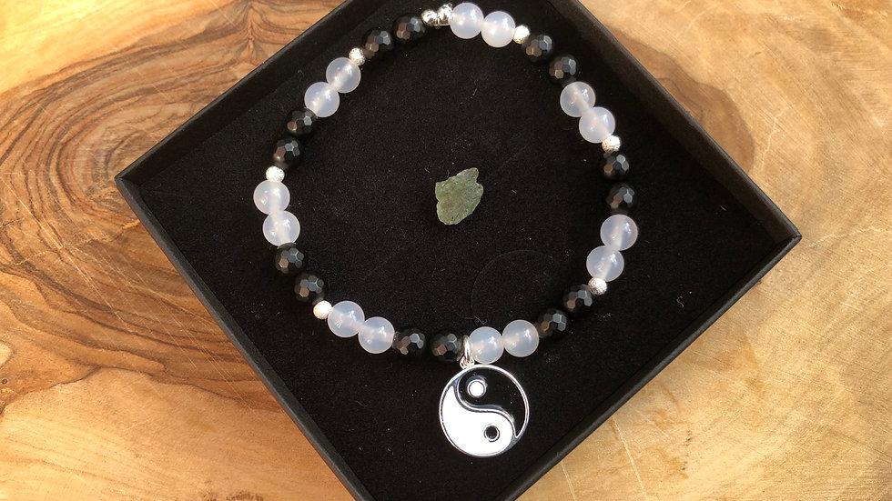 Yin Yang Crystal Energy Bracelet & Moldavite Specimen