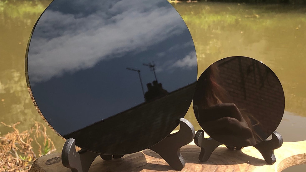 Black Obsidian Scrying Mirror & Stand