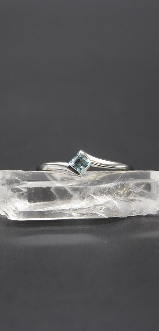 Swiss Blue Topaz Sterling Silver Stacker Ring