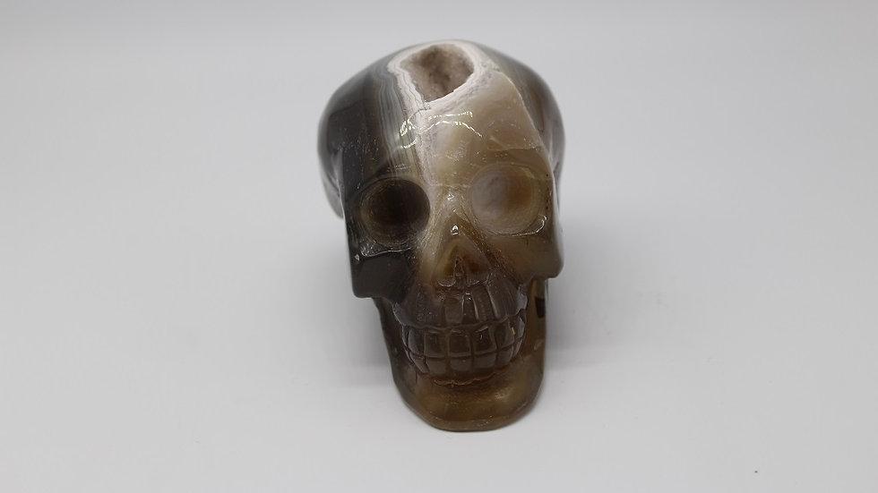 Druzy Agate Carved Skull