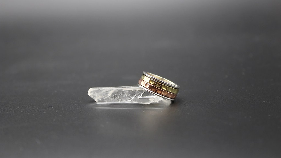 Sterling Silver Two Tone Meditation Ring