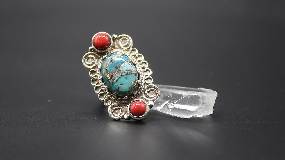 Turquoise and Red Coral Ring in Sterling Silver
