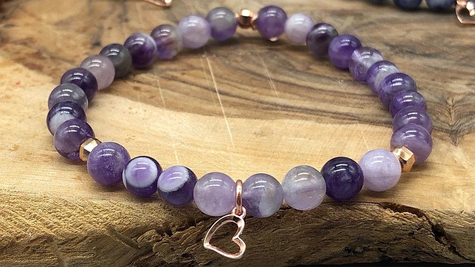 Rose Gold & Sterling Silver Heart Charm Bracelet