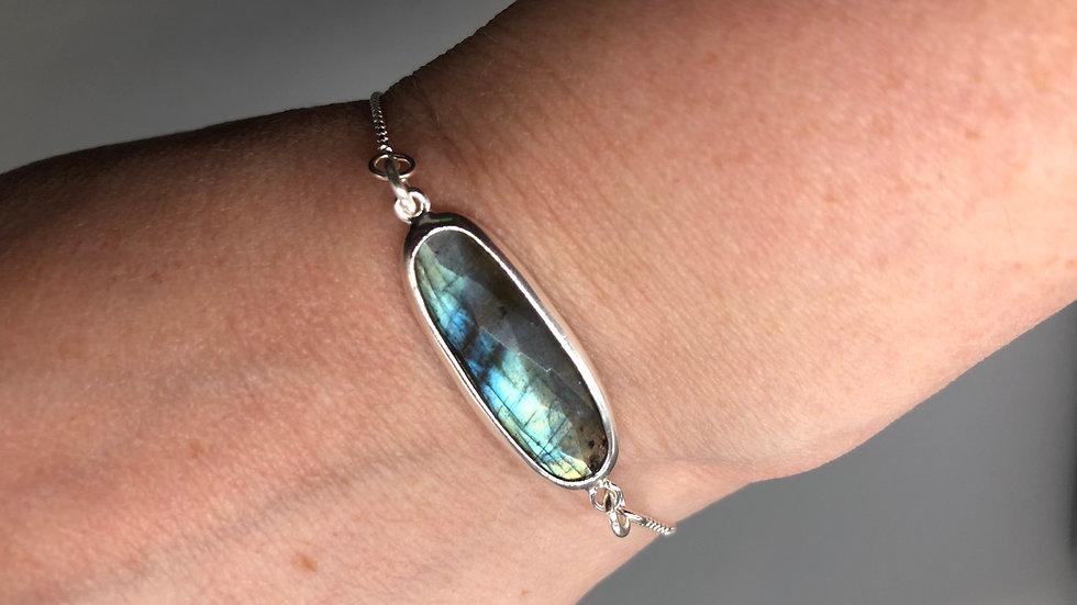 Sterling Silver Labradorite Slider Bracelet