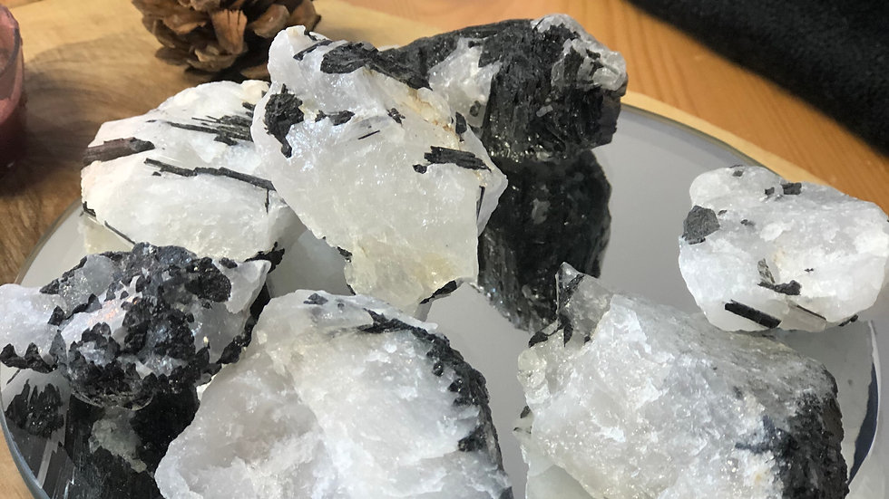 Raw Black Tourmaline in Quartz Specimen