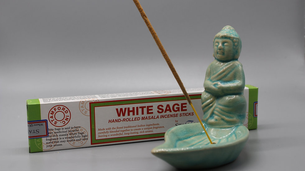 White Sage Incense & Buddha Incense Holder (Duck Egg)