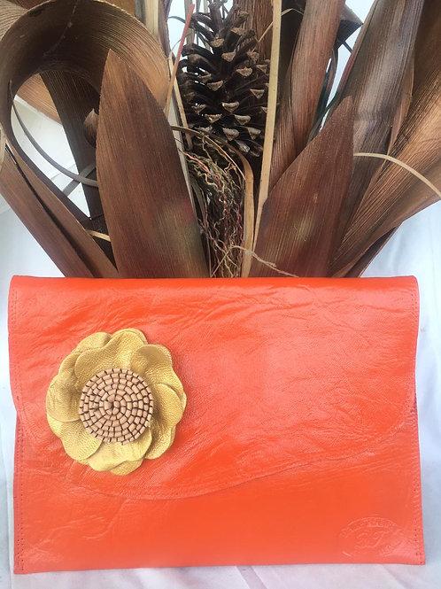 Nikita - Orange Clutch with flower on side