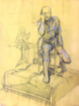 Life drawing on manila paper with charcoal and conté crayon clothed male model on plinth with outline of artist sketching in background