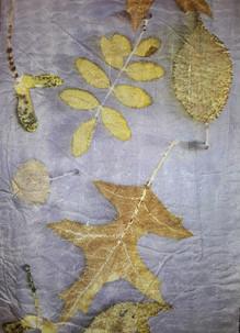 Oak & Rose leaves on Silk