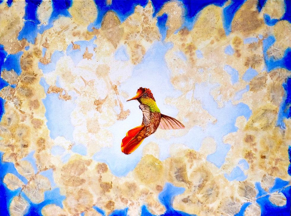 Botanical Blue Hummingbird