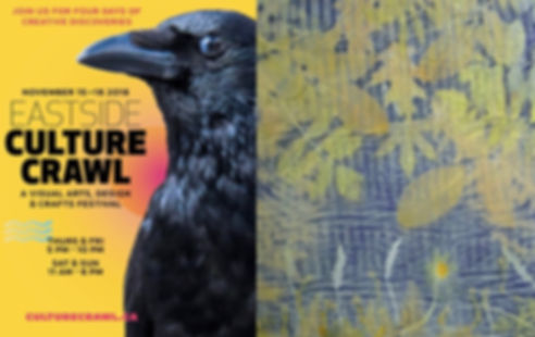 Eastside Culture Crawl Crow image with botanical art by Rose L. Williams Arts