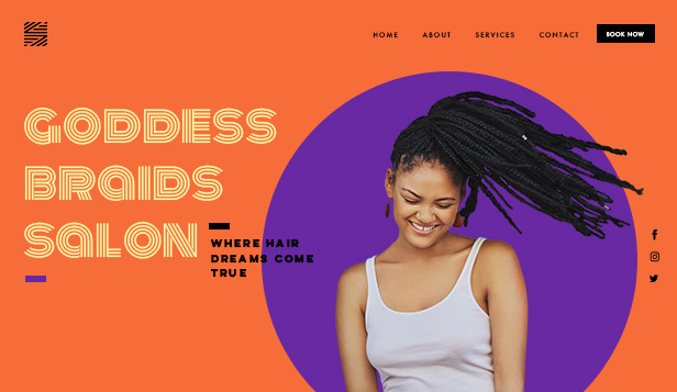 Hår och skönhet website templates – Hair Braids Salon