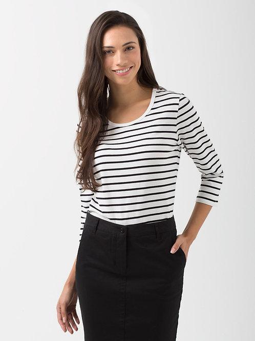 Ladies' Riviera 3/4 Striped T-Shirt