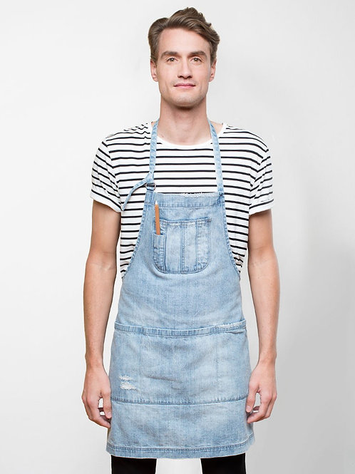 Boston Distressed Denim Bib Apron - Light Blue