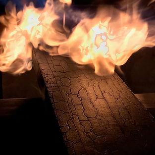 Charred-Accoya-wood-on-fire-shou-sugi-ba