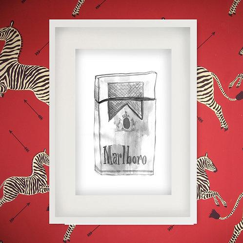 Cigarette Pack Watercolor Print