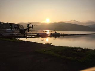 野尻湖・日の出空撮