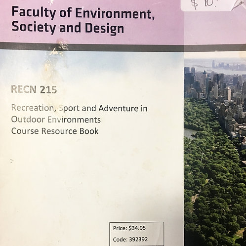 REC 215 Recreation, Sport & Adventure in Outdoor Environments