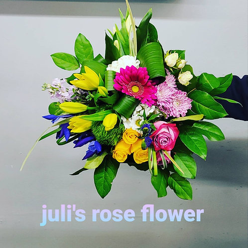 BQ 13 (Yellow and Purple flower bouquet)
